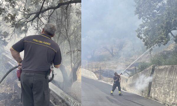 Simeri Crichi, Vasto incendio a ridosso delle abitazioni. Intervento dei Vigili del fuoco